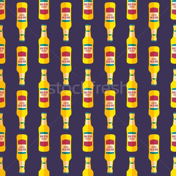 Pop art sörösüveg végtelen minta vektor színes stílus Stock fotó © TRIKONA