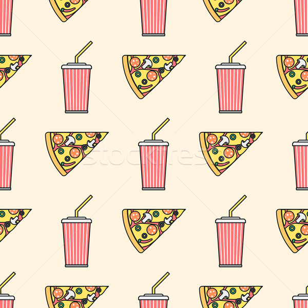 pizza slice soda cold drink paper cup colored outline seamless p Stock photo © TRIKONA