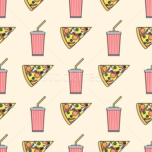 Pizza slice soda koude drank papier beker gekleurd Stockfoto © TRIKONA