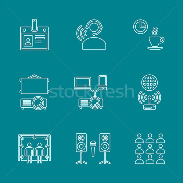 outline conference concept white icons set on dark Stock photo © TRIKONA