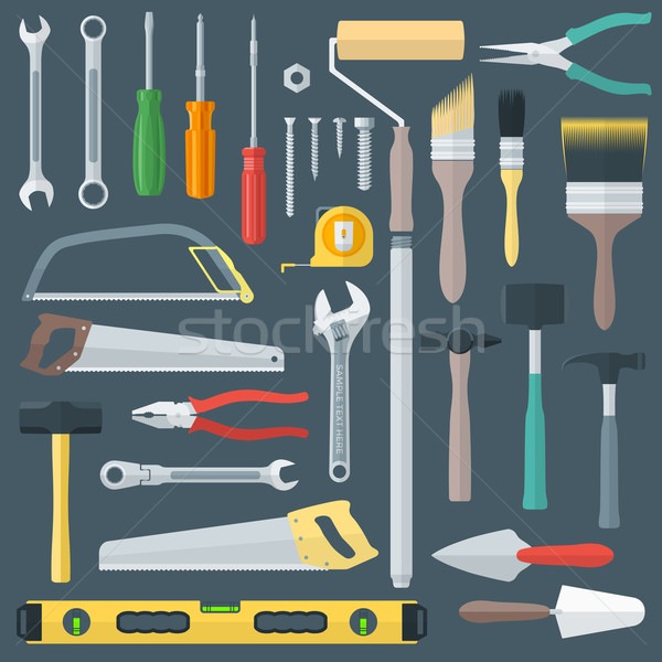 color flat style various house remodel instruments set Stock photo © TRIKONA