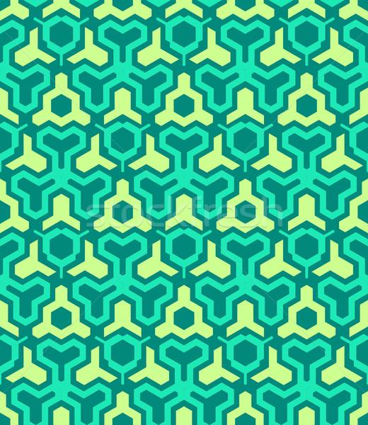 abstract geometric yellow green seamless pattern Stock photo © TRIKONA