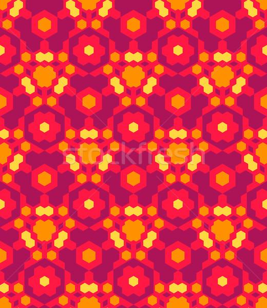 red orange yellow color abstract geometric seamless pattern Stock photo © TRIKONA