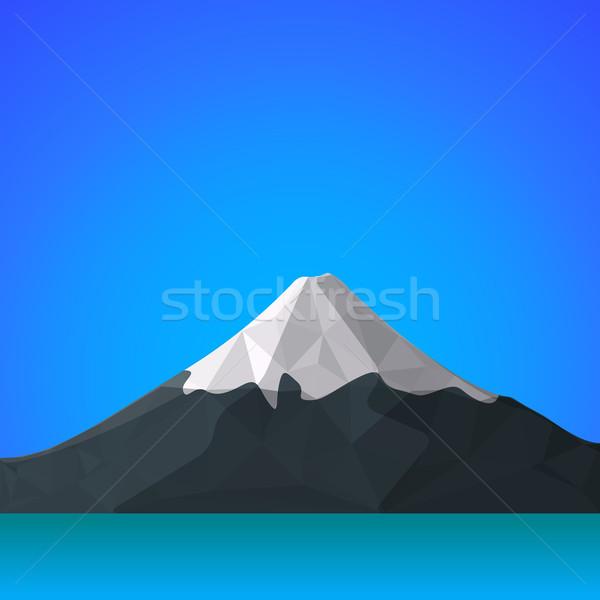 vector flat abstract polygonal Fuji mountain illustration icon Stock photo © TRIKONA