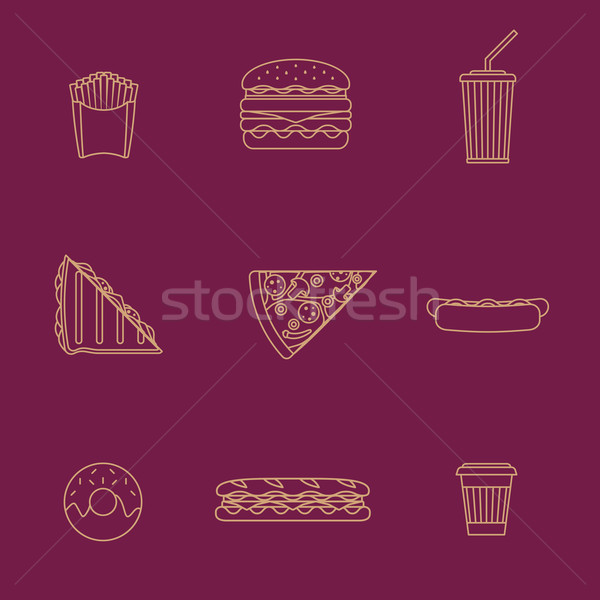 gold outline various fast food icons collection Stock photo © TRIKONA