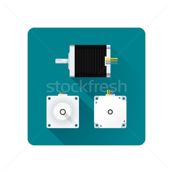 Vektor elektromos motor illusztráció színes terv Stock fotó © TRIKONA