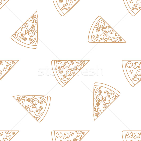 Pizza slice schets vector bruin goud Stockfoto © TRIKONA