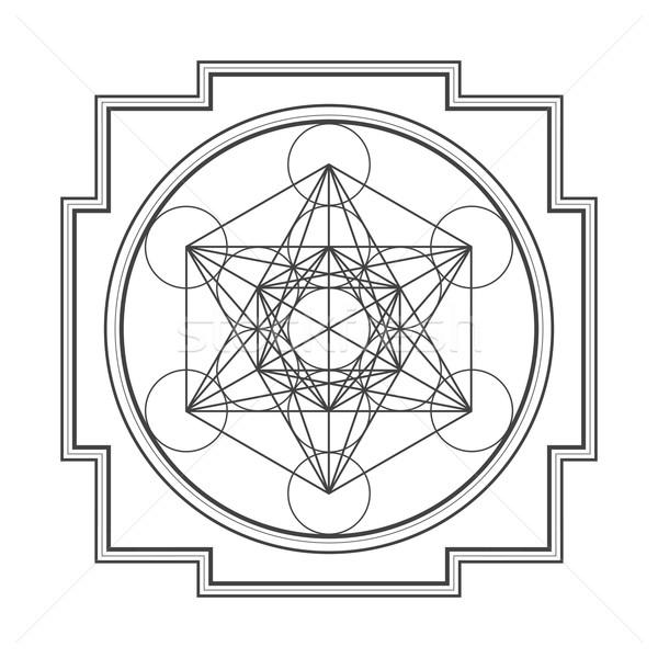 Skicc kocka illusztráció vektor fekete hinduizmus Stock fotó © TRIKONA