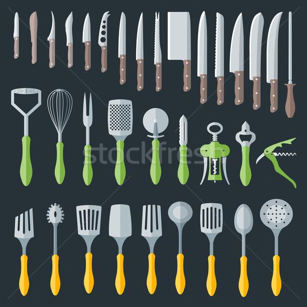 flat kitchenware cutlery tools set Stock photo © TRIKONA