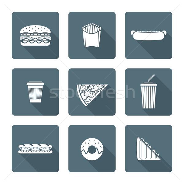 white monochrome various fast food icons collection Stock photo © TRIKONA