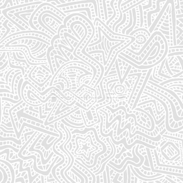 Monokróm kézzel rajzolt vektor szürke absztrakt firka Stock fotó © TRIKONA