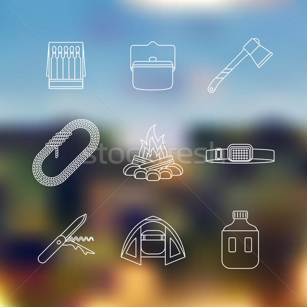 white color outline various camping icon set Stock photo © TRIKONA