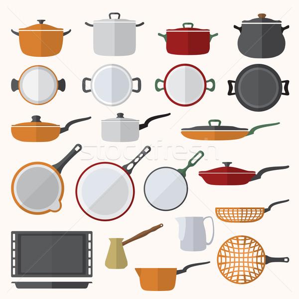 Tafelgerei ingesteld vector kleur ontwerp Stockfoto © TRIKONA