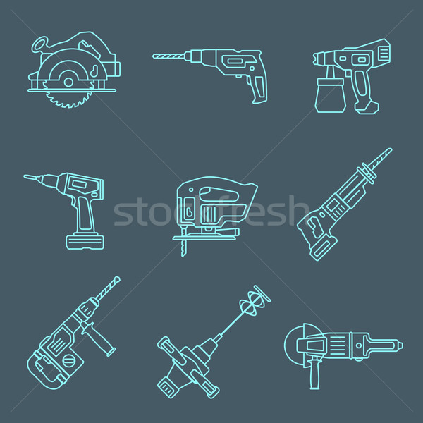 light outline house remodel power tools icons on dark Stock photo © TRIKONA