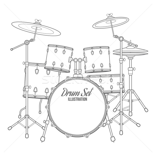 dark contour vector drum set technical illustration Stock photo © TRIKONA