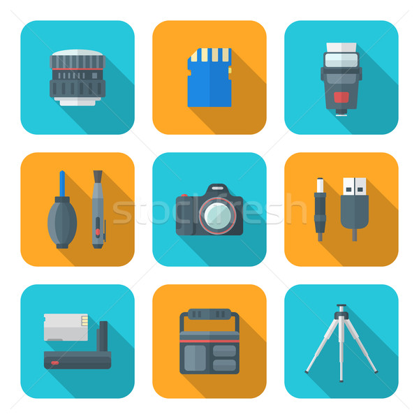 color flat style square digital photography tools icons  Stock photo © TRIKONA