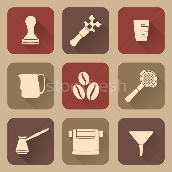 flat style white coffee barista instruments icons set Stock photo © TRIKONA