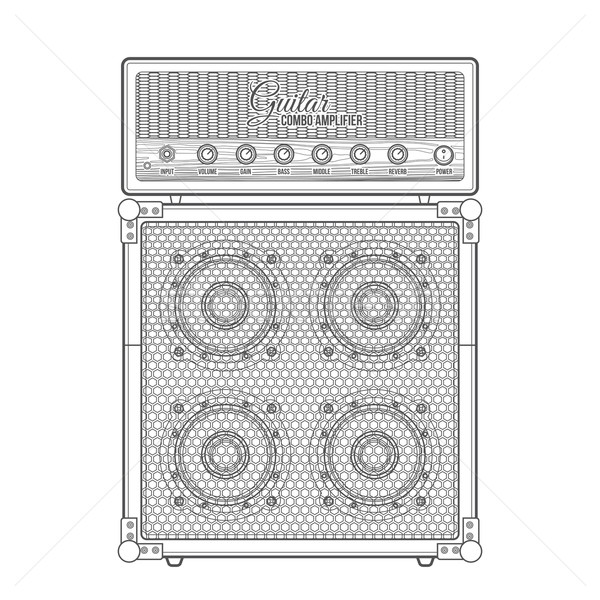 vector contour graphic electric guitar combo amplifier cabinet i Stock photo © TRIKONA