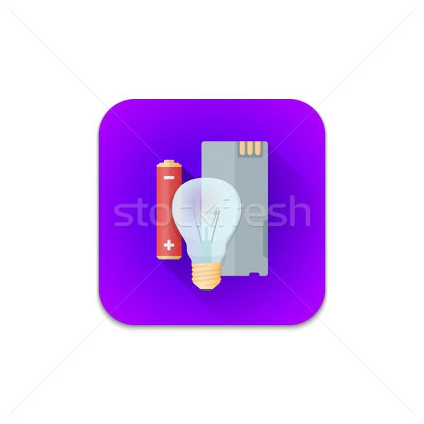 Vetor eletrônico reciclar desperdiçar ícone colorido Foto stock © TRIKONA