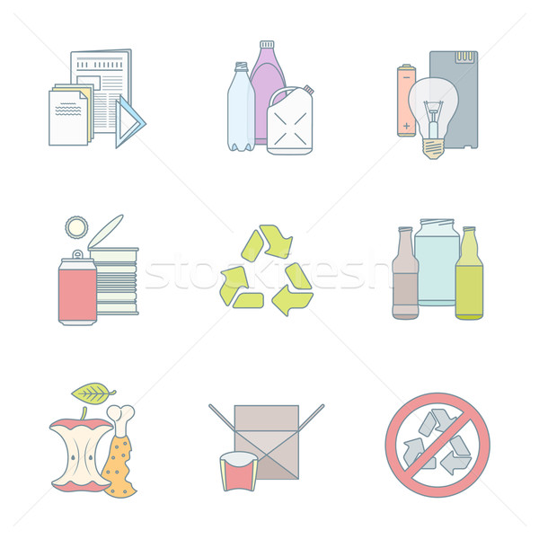 color outline various waste recycle separate collection Stock photo © TRIKONA