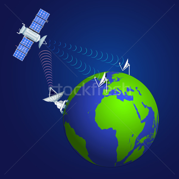 colorful satellite broadcasting concept illustration