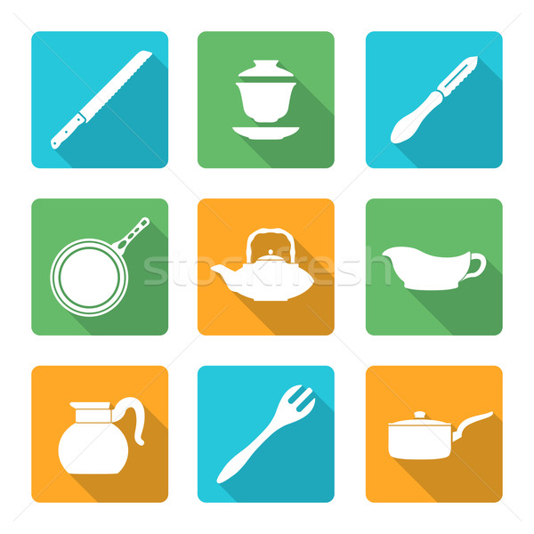 flat style white dinnerware icons set Stock photo © TRIKONA