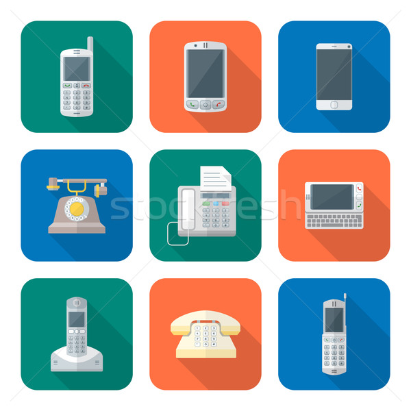 colored flat style various phone devices icons set