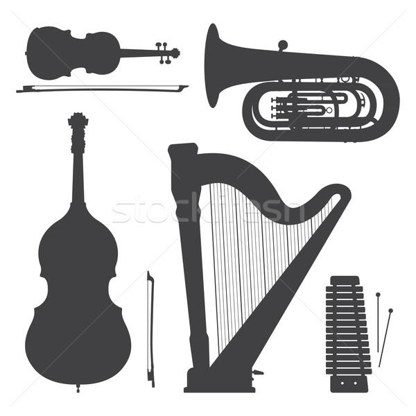 monochrome music instruments silhouettes illustration collection Stock photo © TRIKONA