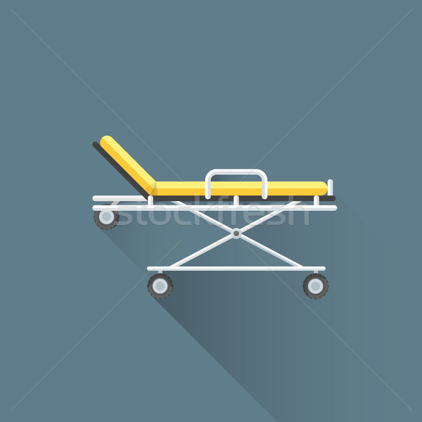 vector flat medical stretcher on wheels illustration icon