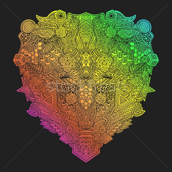 rainbow hand drawn decorative zentangle illustration Stock photo © TRIKONA