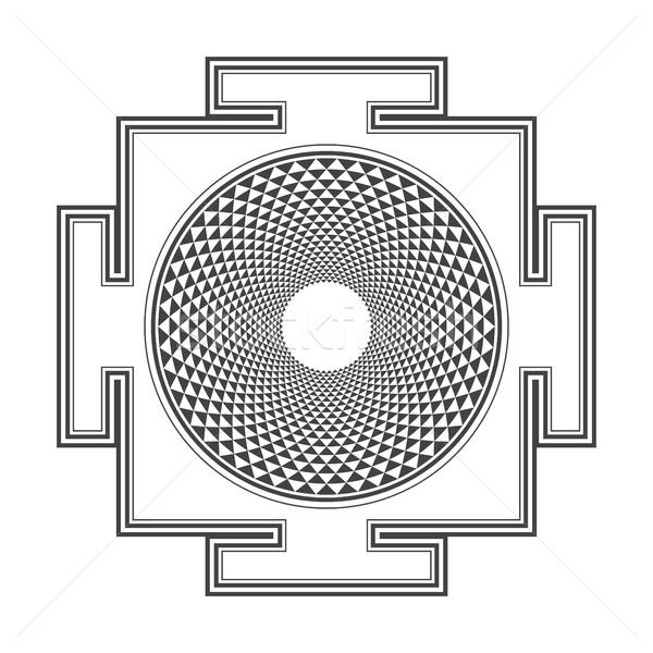 monocrome outline Sahasrara yantra illustration Stock photo © TRIKONA