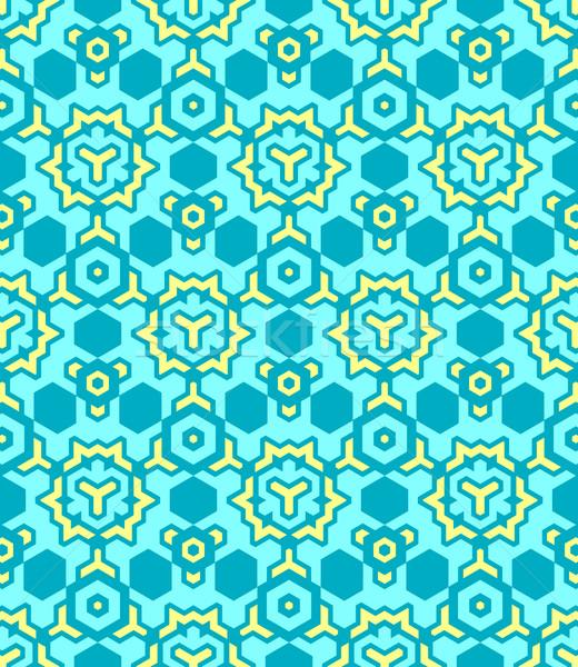 abstract geometric yellow blue seamless pattern Stock photo © TRIKONA