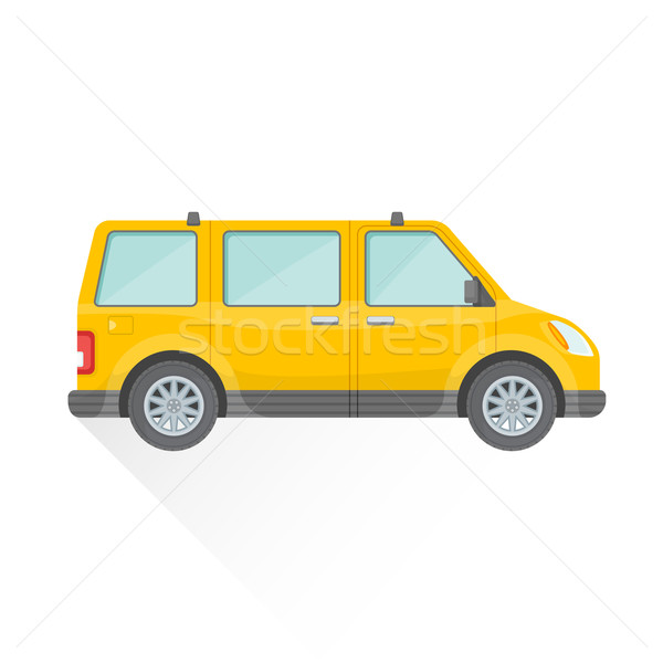 vector flat yellow van car body style illustration icon