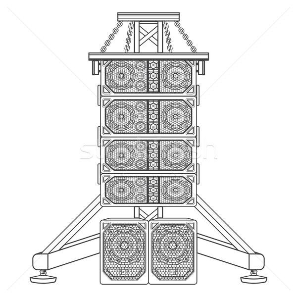 line array concert acoustics on truss suspension illustration