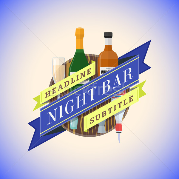 color flat night bar emblem template Stock photo © TRIKONA