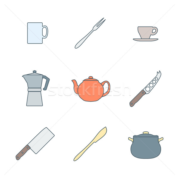 flat color outline dinnerware icons set Stock photo © TRIKONA