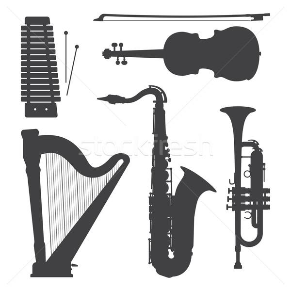 Foto stock: Monocromático · música · silhuetas · ilustração · coleção · vetor