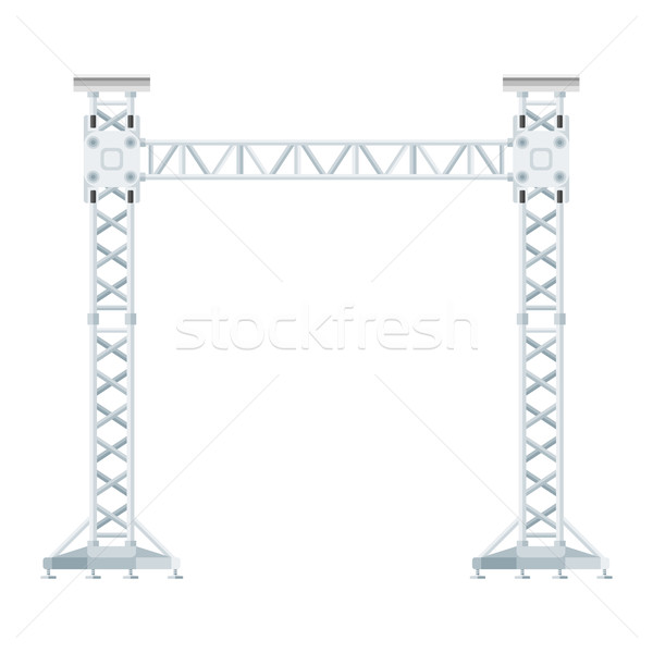 colored flat style truss tower lift construction illustration 
