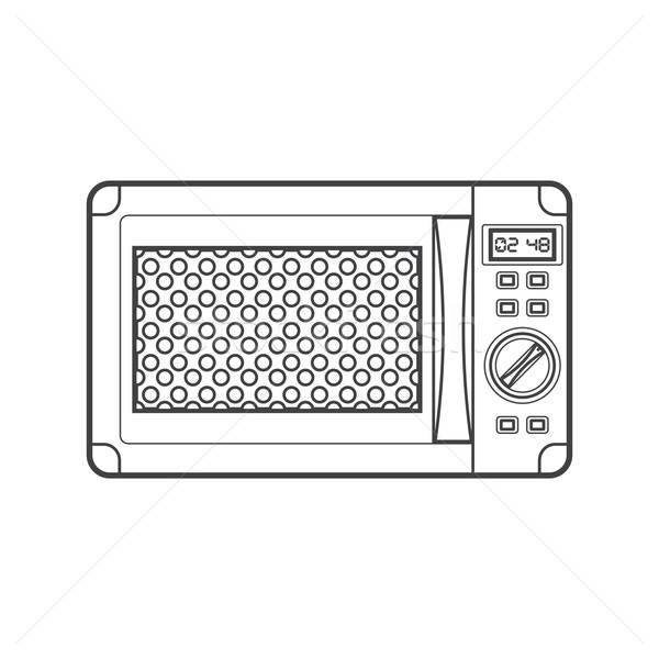 Siyah mikrodalga fırın örnek vektör Stok fotoğraf © TRIKONA