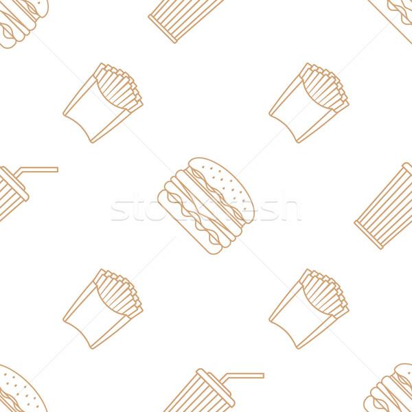 Kóla hamburger sültkrumpli skicc végtelen minta vektor Stock fotó © TRIKONA