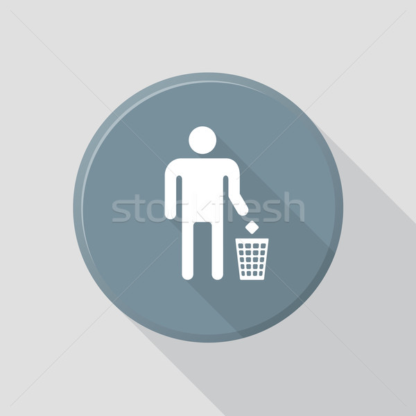 flat style waste sign icon with shadow