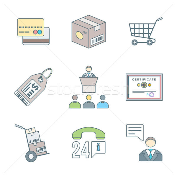 various colored outline business distribution marketing process  Stock photo © TRIKONA