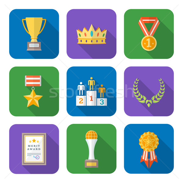 flat style colored various awards symbols icons collection