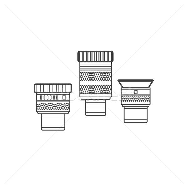 Vector schets telescoop collectie zwarte kleur Stockfoto © TRIKONA