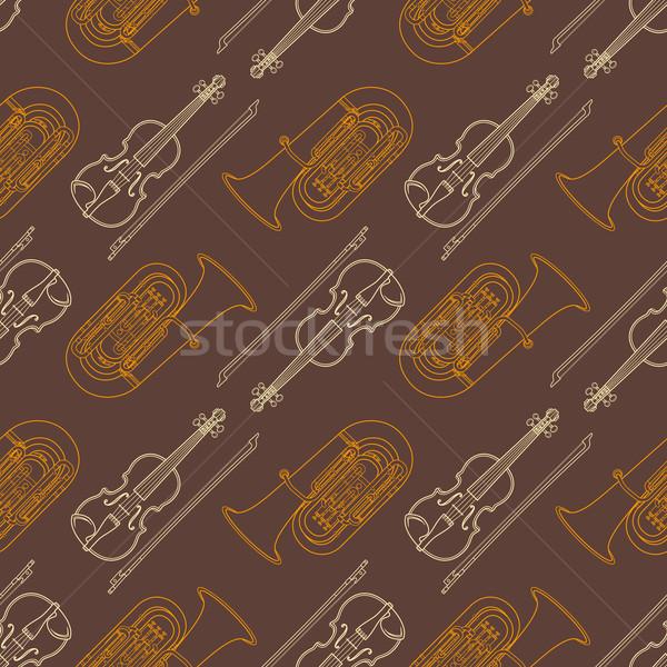 classical music instruments seamless pattern Stock photo © TRIKONA