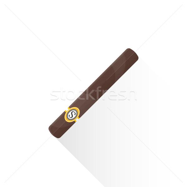 вектора кубинский сигару иллюстрация икона коричневый Сток-фото © TRIKONA