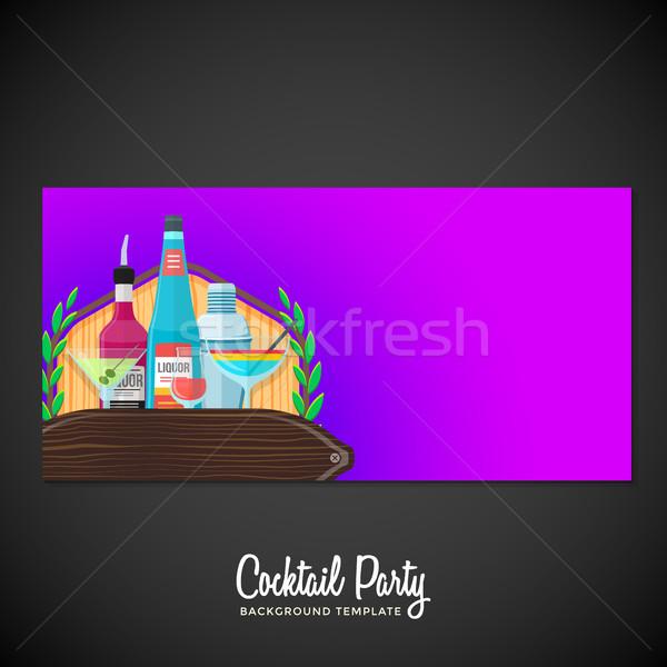 alcohol cocktails banner backdrop template Stock photo © TRIKONA