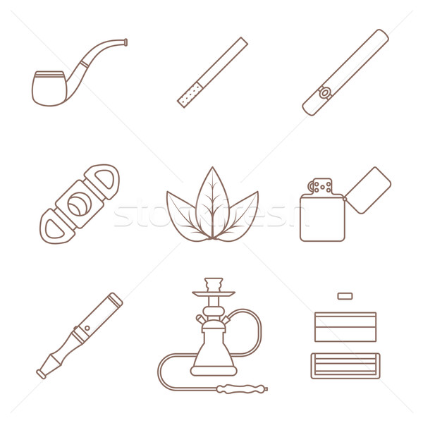 dark outline various tobacco goods tools icons set Stock photo © TRIKONA