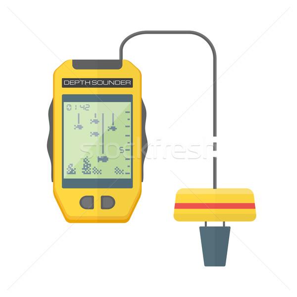 vector flat style yellow fish finder sonar illustration Stock photo © TRIKONA