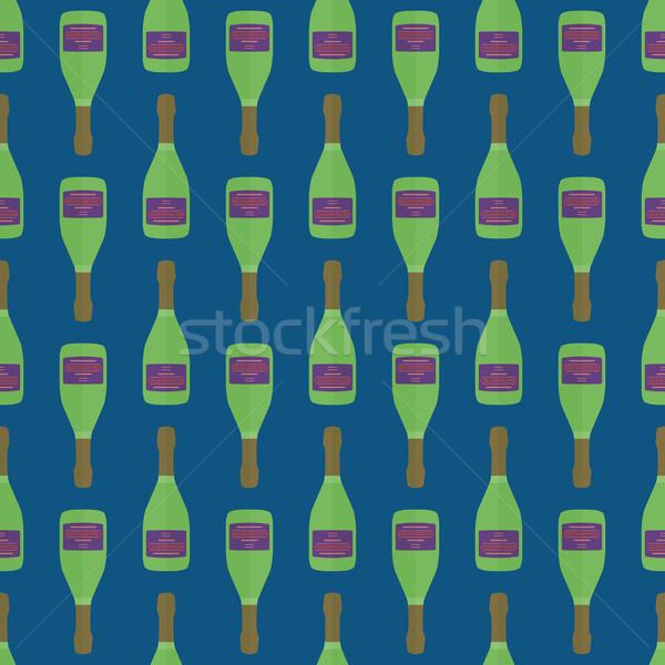 Pop art champagne fles vector gekleurd Stockfoto © TRIKONA